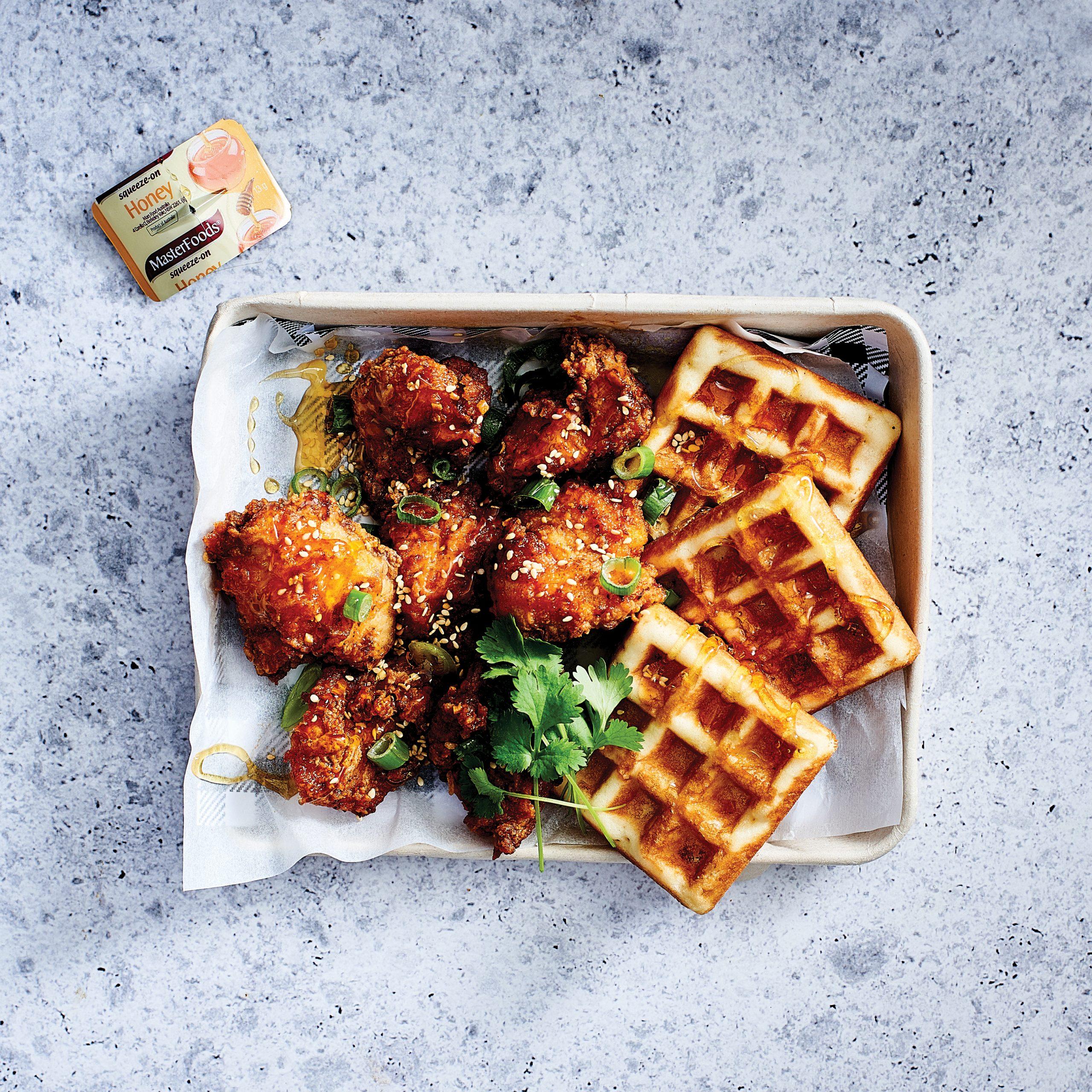 Popcorn Chicken and Waffles